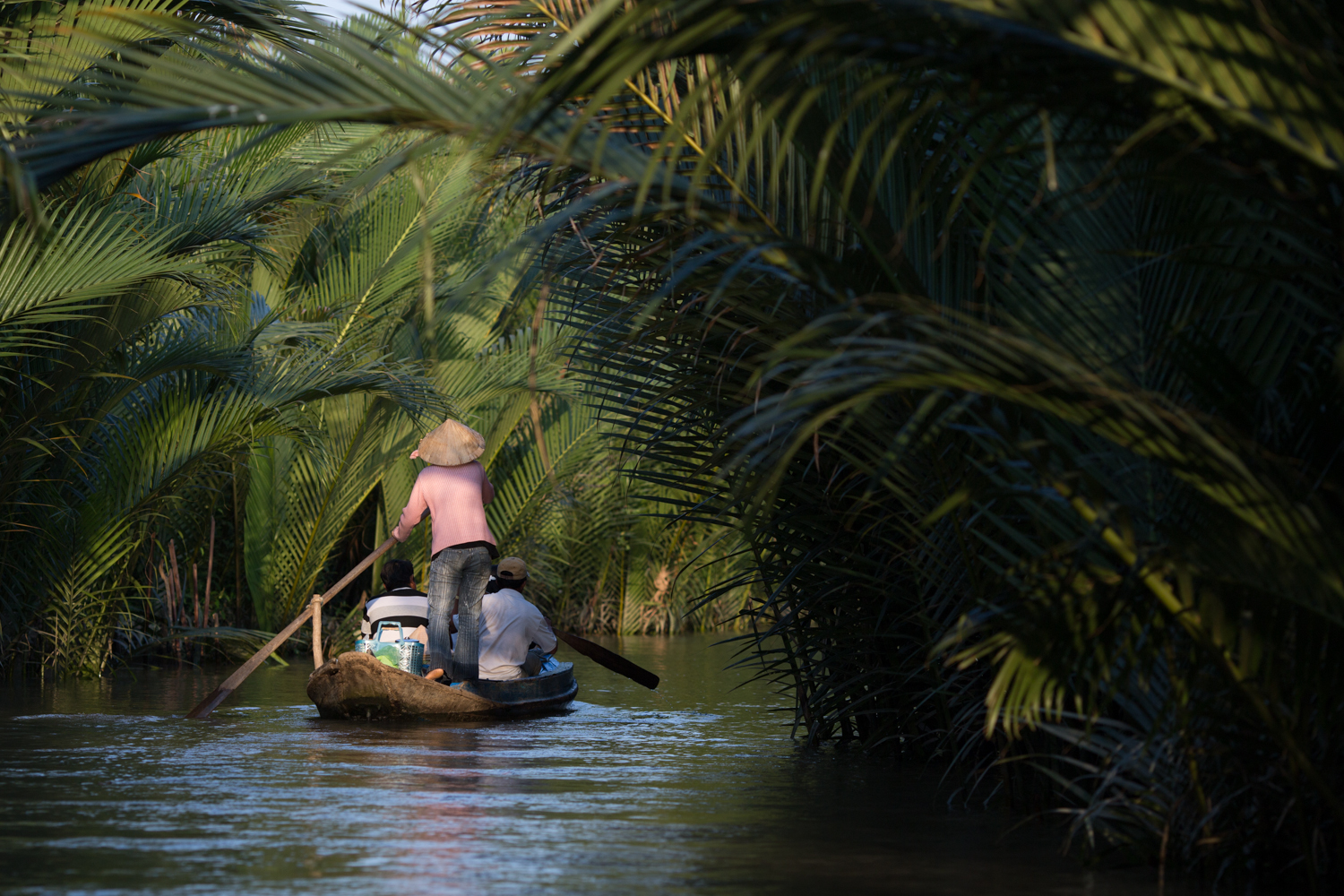 Woman rowing in an arroyo
