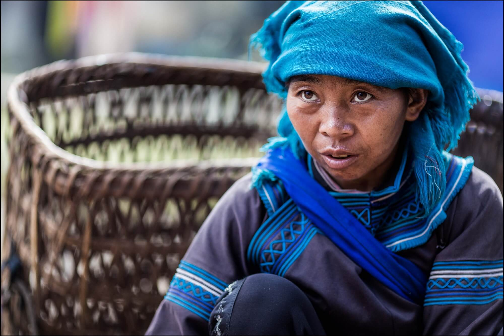 Vietnam Minority Portrait in blue outfit