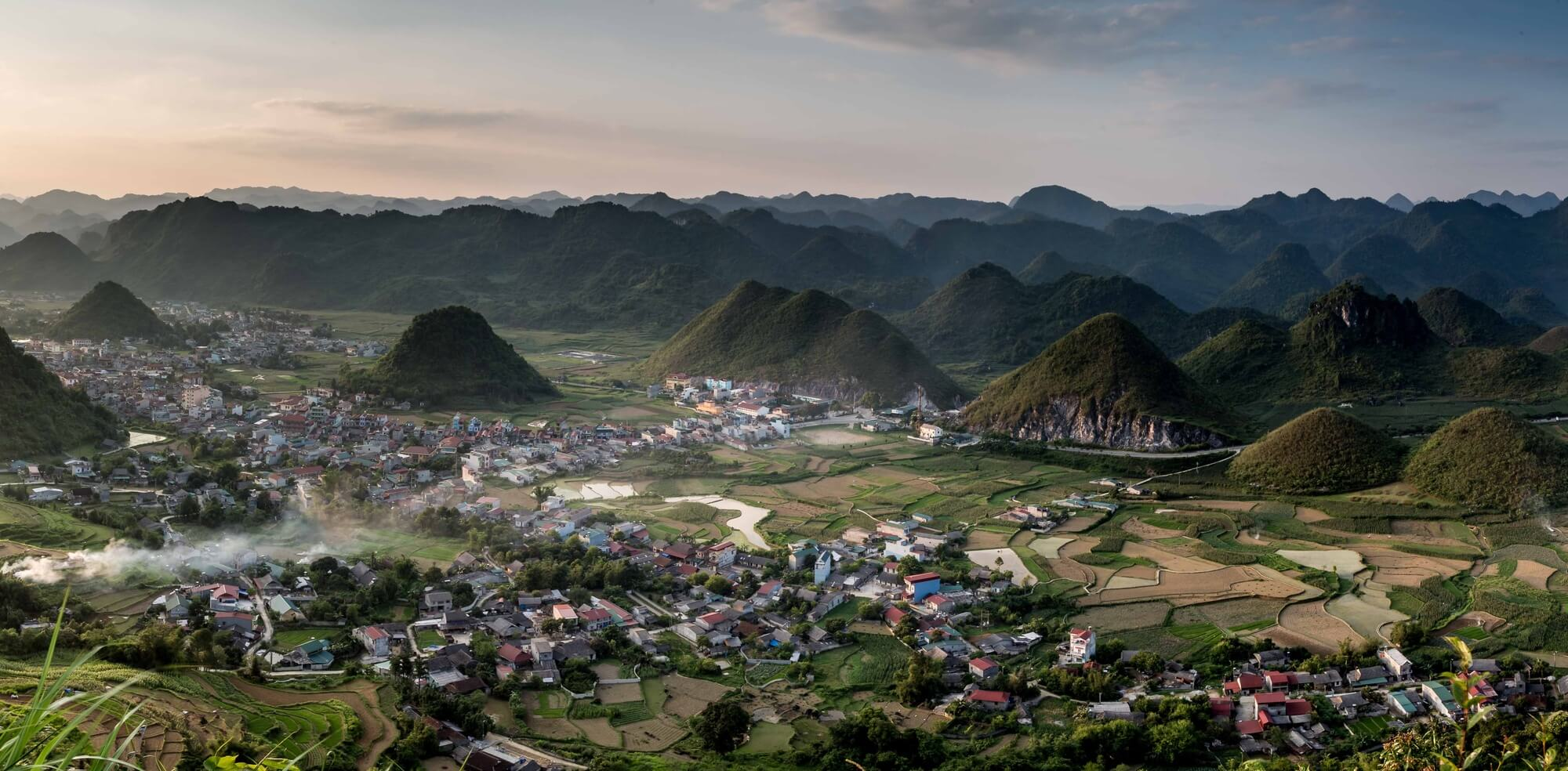 North Vietnam Quan Ba panoramic landscape at dusk