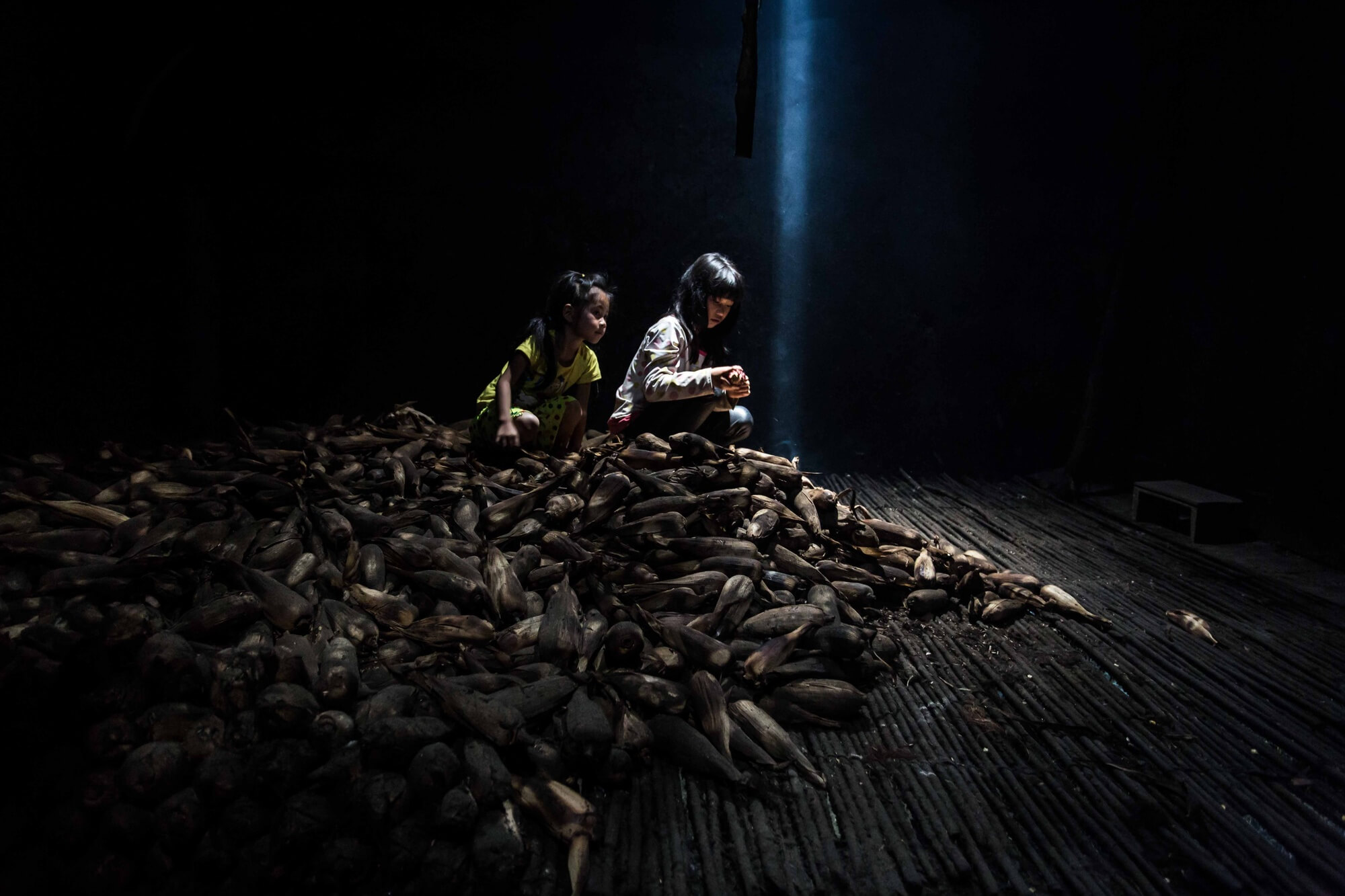 Two Vietnamese minority childs atop a mount of unprocessed corns in dim lit granary