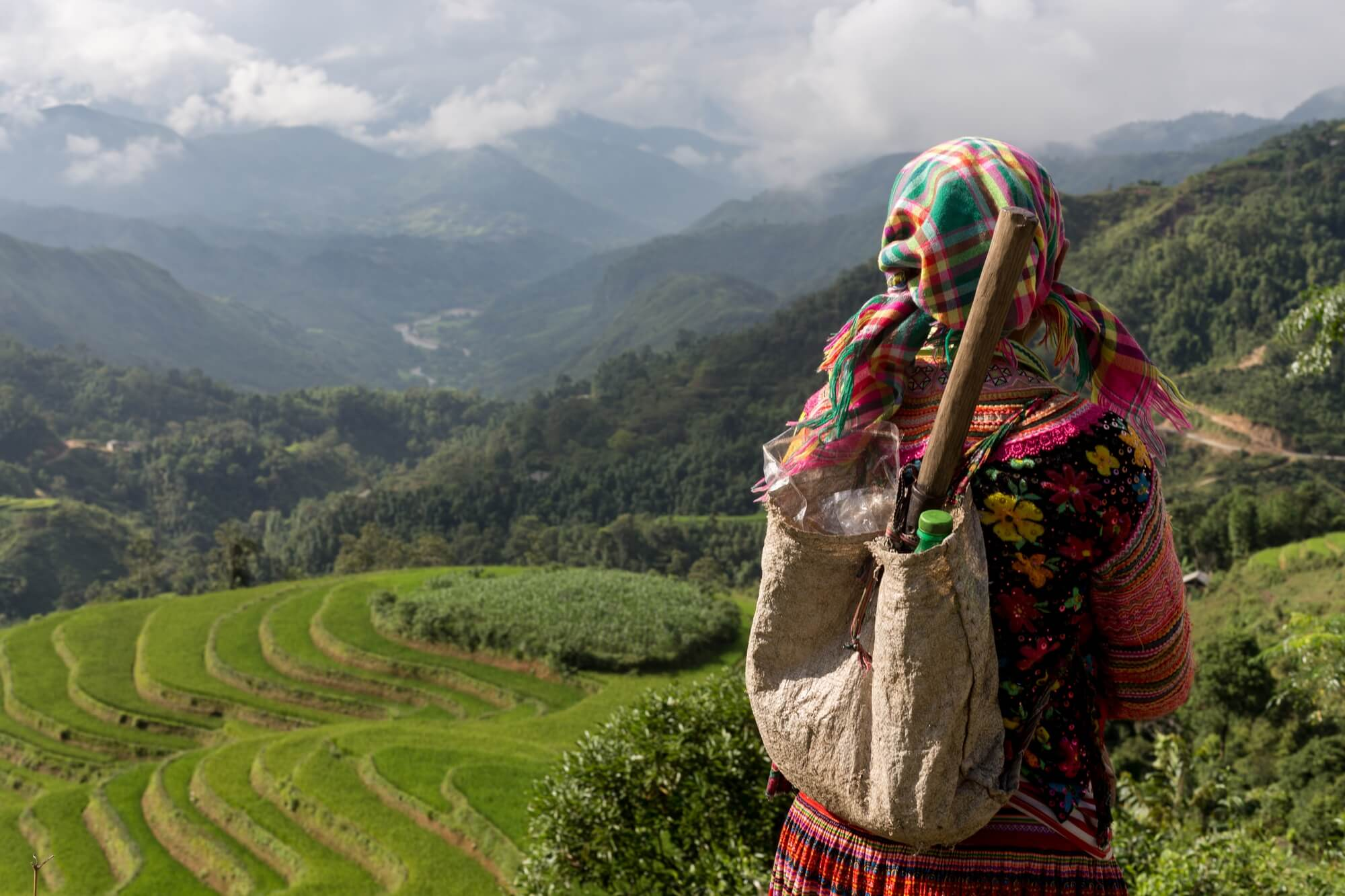 Vietnam ethnic minority over viewing rice terraces