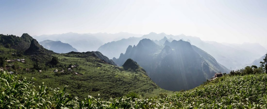 High altitude village panoramic view in Ha Giang region